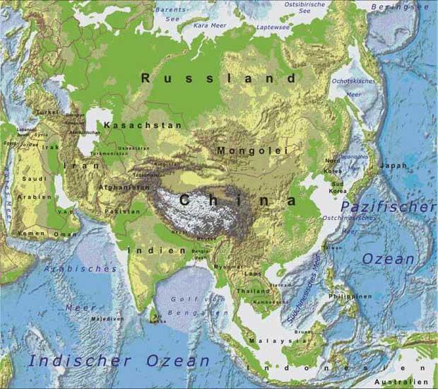 Physische karte von asien